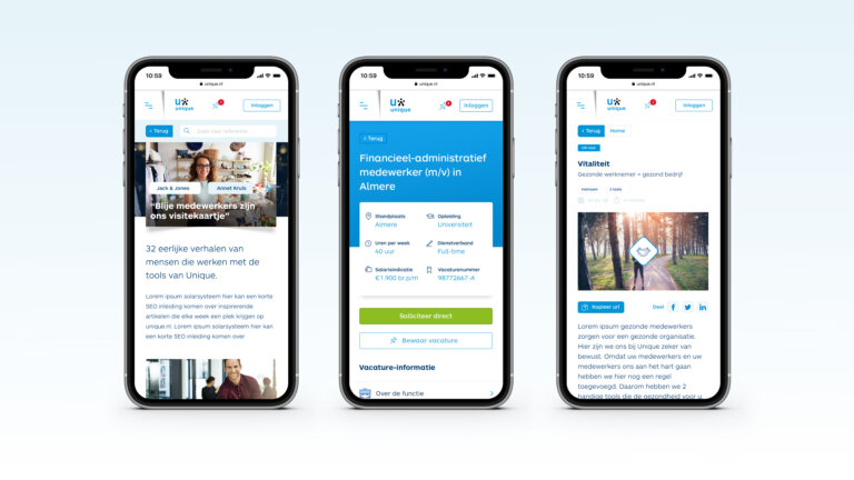 Mobiele website - Unique